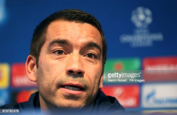 Feyenoord manager Giovanni van Bronckhorst during the press conference at the Etihad Stadium Manchester PRESS ASSOCIATION Photo Picture date Monday...