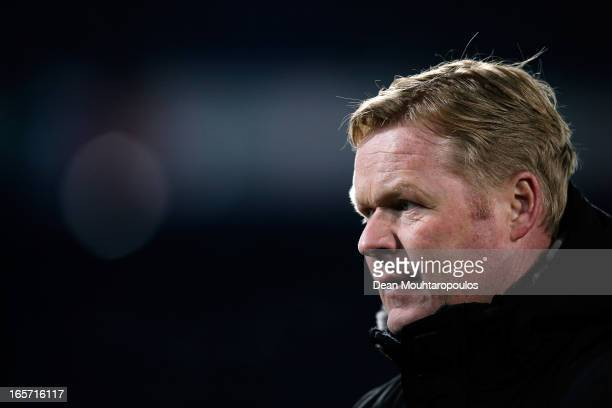 Feyenoord Manager Ronald Koeman thanks the fans after victory in the Eredivisie match between Feyenoord and VVV Venlo at De Kuip on April 5 2013 in...