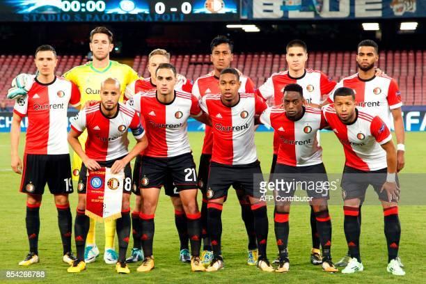 Feyenoord Rotterdam's team players Feyenoord's Dutch striker Steven Berghuis Feyenoord's Australian goalkeeper Brad jones Feyenoord's Dutch...