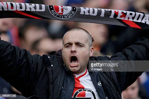 feyenoord supporter during the Dutch Eredivisie match between Feyenoord Rotterdam and Ajax Amsterdam at the Kuip on November 8 2015 in Rotterdam The...