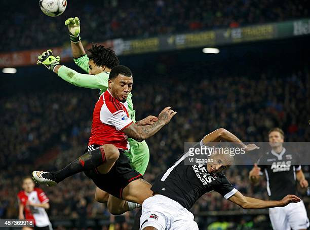FeyenoordAZ Strijd in de Kuip Doelman Esteban in fysiek duel met KazimRichards Poulsen zit in de mangel foto ' pim Ras during the Dutch Eredivisie...