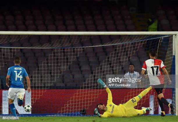 Feyenoord's Australian goalkeeper Brad Jones looks at the ball in the net after a goal by Napoli's midfielder from Italy Lorenzo Insigne during the...