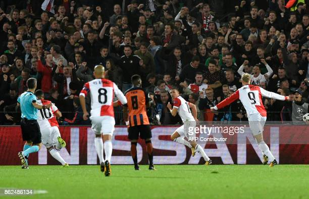 Feyenoord's forward Steven Berghuis celebrates after scoring a goal during the UEFA European Champions League Group F football match between...