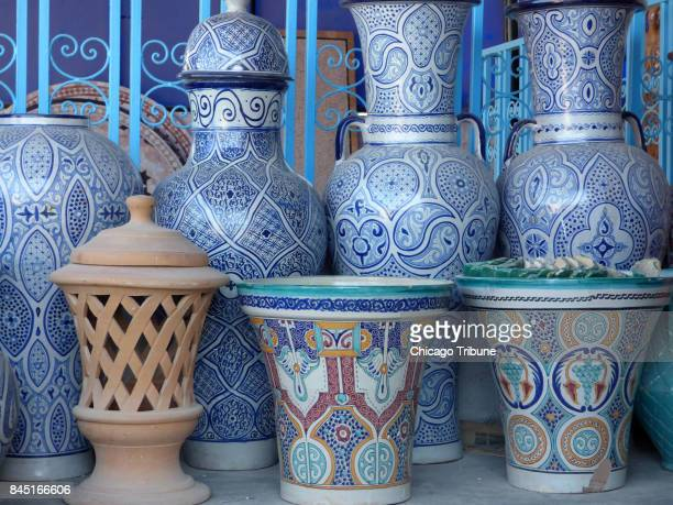 Fez is known for its blue and white pottery but other colors are available too