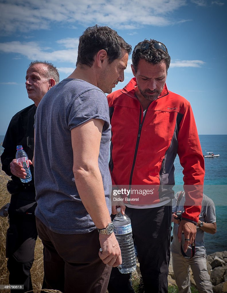 FFormer Societe General Bank trader Jerome Kerviel and his lawyer David Koubbi arrive near the French Border on May 17 2014 in Ventimiglia Italy The...