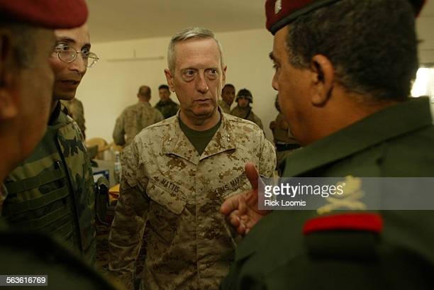 FGfallouja52fRL––Fallouja Iraq–– US Marine Major General James Mattis center talks with Iraqi Major General Jassim Mohammed Saleh right during...