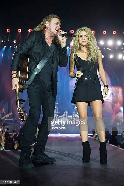 Fher Olvera of Mana and Shakira perform on stage at Palau Sant Jordi on September 6 2015 in Barcelona Spain