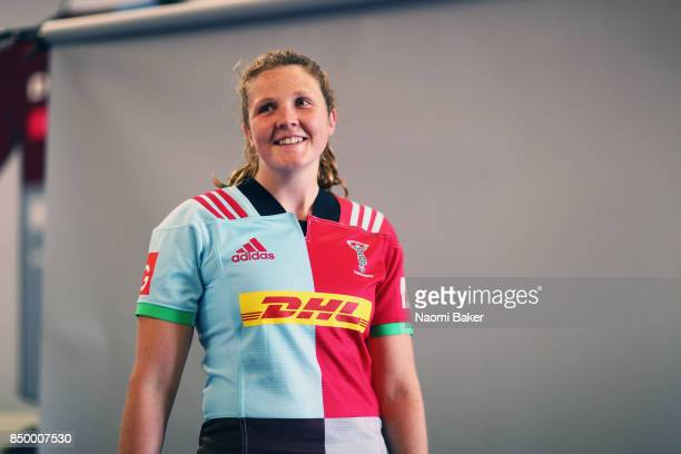 Fi Fletcher poses for a portrait during the Harlequins Ladies Squad Photo call for the 2017/18 Tyrrells Premier 15s Season at Surrey Sports Park on...