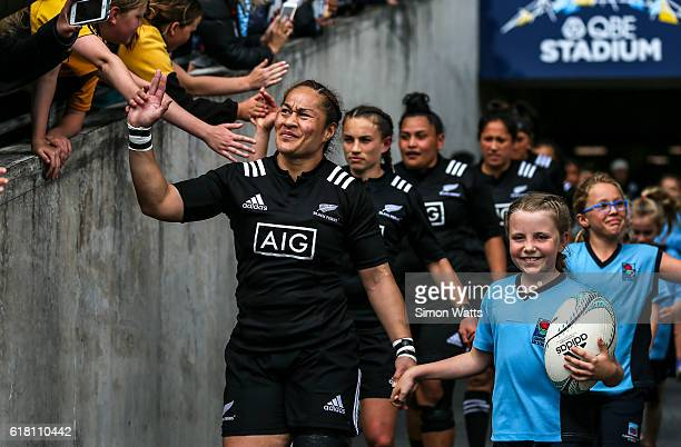 Fiao'o Faamausili leads the Black Ferns onto the field during the International Test match between the New Zealand Black Ferns and Australia...