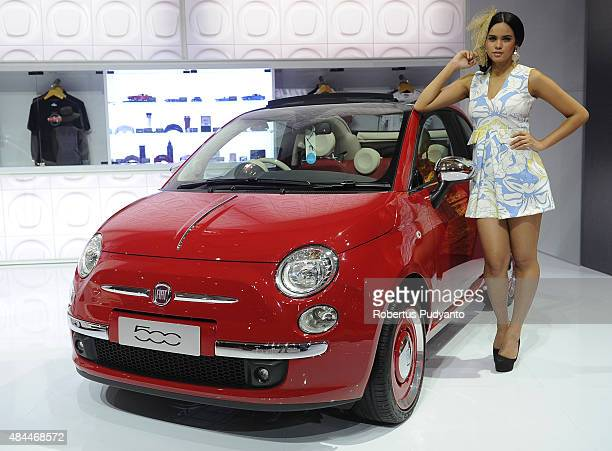 Fiat 500 is displayed in The 23rd Indonesia International Motor Show at JI EXPO Kemayoran on August 19 2015 in Jakarta Indonesia The 23rd IIMS...