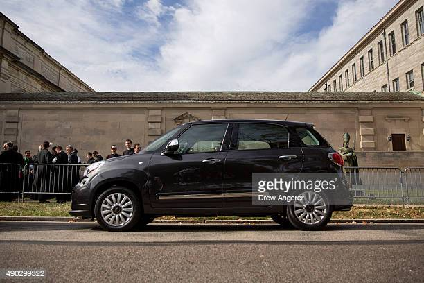 Fiat 500L the car for Pope Francis when traveling in his motorcade sits parked outside Saint Charles Borromeo Seminary September 27 2015 in Wynnewwod...
