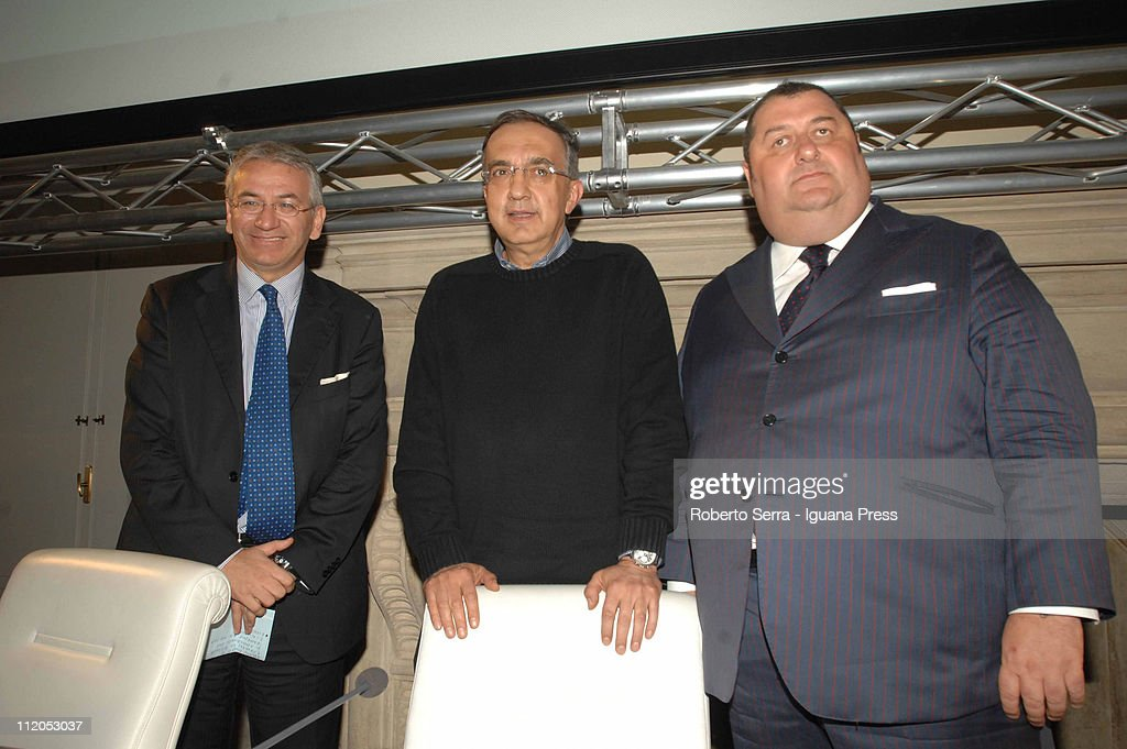 Fiat CEO <a gi-track='captionPersonalityLinkClicked' href=/galleries/search?phrase=Sergio+Marchionne&family=editorial&specificpeople=608333 ng-click='$event.stopPropagation()'>Sergio Marchionne</a>, here between Roberto Nicastro (L) general director of Unicredit Bank and professor Massimo Bergami (R) director and organizer of Alma Graduate School of University of Bologna, holds leadership masterclass at Villa Guastavillani on April 7,2011 in Bologna, Italy. Under plans laid out by the company's Chief Executive <a gi-track='captionPersonalityLinkClicked' href=/galleries/search?phrase=Sergio+Marchionne&family=editorial&specificpeople=608333 ng-click='$event.stopPropagation()'>Sergio Marchionne</a>, FIAT will move to increase its stake in Chrysler by 5% to 30% over the coming weeks with the intention of securing 51% by the end of the year.