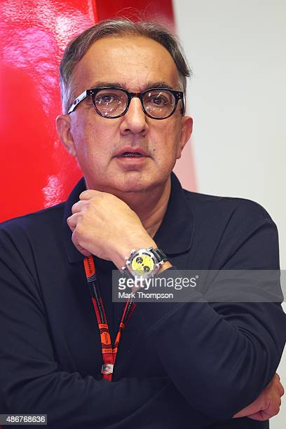 Fiat CEO Sergio Marchionne looks on in the Ferrari garage during final practice for the Formula One Grand Prix of Italy at Autodromo di Monza on...