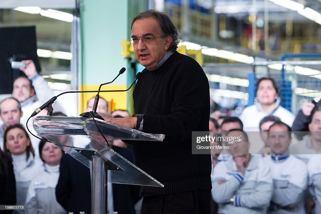 Fiat CEO <a gi-track='captionPersonalityLinkClicked' href=/galleries/search?phrase=Sergio+Marchionne&family=editorial&specificpeople=608333 ng-click='$event.stopPropagation()'>Sergio Marchionne</a> speaks during a visit to the Fiat plant on December 20, 2012 in Melfi, Italy. The visit comes as the car maker's chief executive, <a gi-track='captionPersonalityLinkClicked' href=/galleries/search?phrase=Sergio+Marchionne&family=editorial&specificpeople=608333 ng-click='$event.stopPropagation()'>Sergio Marchionne</a>, announced plans to build new sport utility vehicles (SUV) at its Melfi plant by year-end.