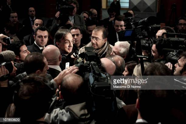 Fiat CEO Sergio Marchionne speaks to the press at the launch of Fiat Industrial's debut on the Stock Market on January 22 2011 in Milan Italy...