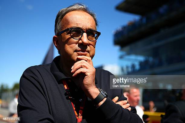 Fiat CEO Sergio Marchionne stands on the grid before the Formula One Grand Prix of Italy at Autodromo di Monza on September 6 2015 in Monza Italy