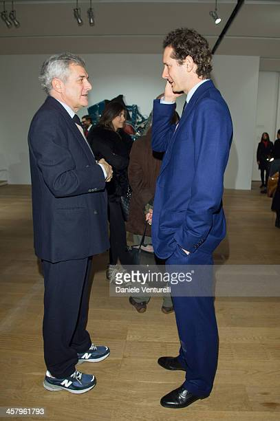 Fiat chairman John Elkann and Alain Elkann attends Ron Arad 'In reverse' exhibition with Fiat as a main sponsor at Pinacoteca Agnelli on December 19...