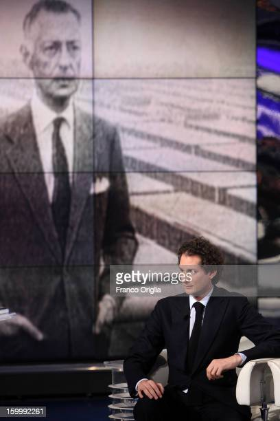 Fiat Chairman John Elkann attends 'Porta A Porta' Italian TV Show while a portrait of his grandfather Giovanni Agnelli is displayed in the background...