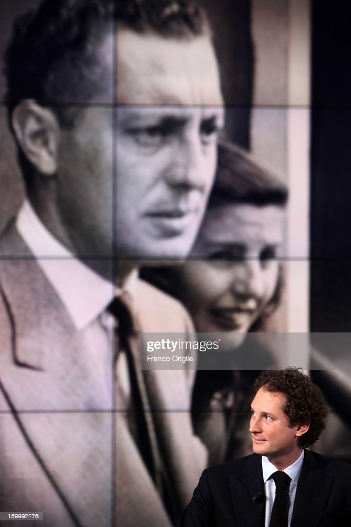 Fiat Chairman <a gi-track='captionPersonalityLinkClicked' href=/galleries/search?phrase=John+Elkann&family=editorial&specificpeople=571803 ng-click='$event.stopPropagation()'>John Elkann</a> attends 'Porta A Porta' Italian TV Show while a portrait of his grandfathers Giovanni Agnelli and Marella Agnelli is displayed in the background on January 24, 2013 in Rome, Italy. Today President of Italian Republic Giorgio Napolitano remembered after 10 years the death of Gianni Agnelli - President and principal shareholder of Fiat Group at the Cathedral of Torino.