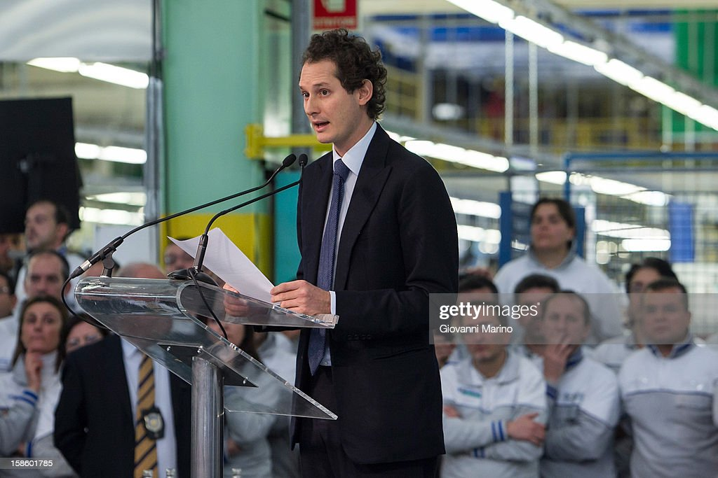 Fiat Chairman <a gi-track='captionPersonalityLinkClicked' href=/galleries/search?phrase=John+Elkann&family=editorial&specificpeople=571803 ng-click='$event.stopPropagation()'>John Elkann</a> speaks during a visit to the Fiat plant on December 20, 2012 in Melfi, Italy. The visit comes as the car maker's chief executive, Sergio Marchionne, announced plans to build new sport utility vehicles (SUV) at its Melfi plant by year-end.