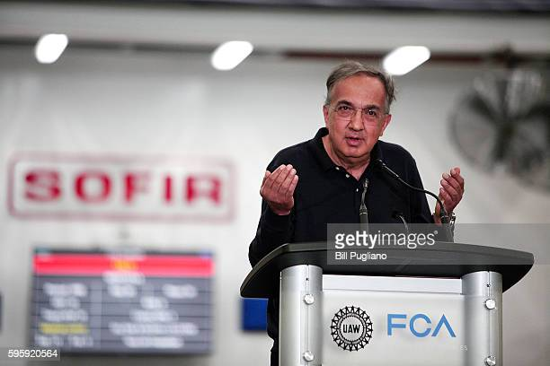 Fiat Chrysler Automobiles CEO Sergio Marchionne speaks at an event celebrating the start of production of three allnew stamping presses at the FCA...