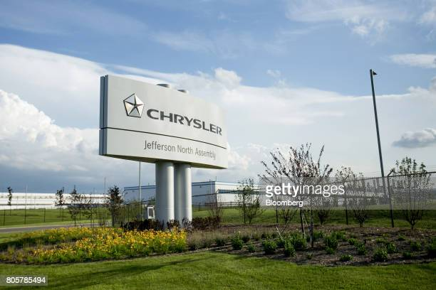 Fiat Chrysler Automobiles NV signage stands outside of the company's Jefferson North Assembly plant in Detroit Michigan US on Thursday June 22 2017...