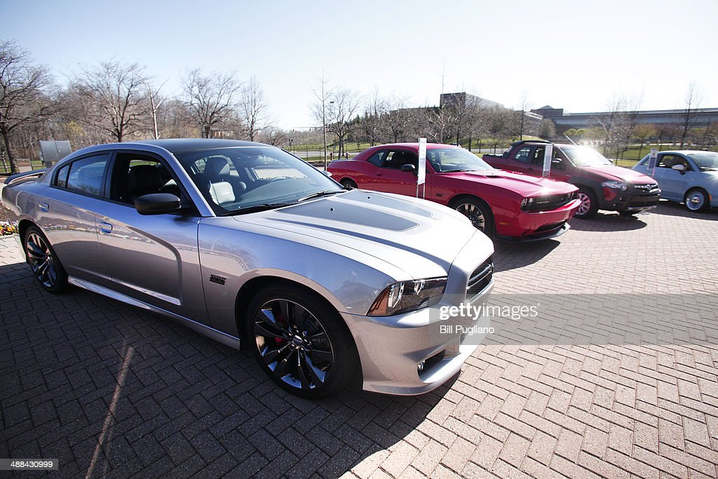 Fiat Chrysler automobiles shown outside the Chrysler Group complex May 6 2014 in Auburn Hills Michigan On Tuesday Fiat Chrysler Automobiles Group...