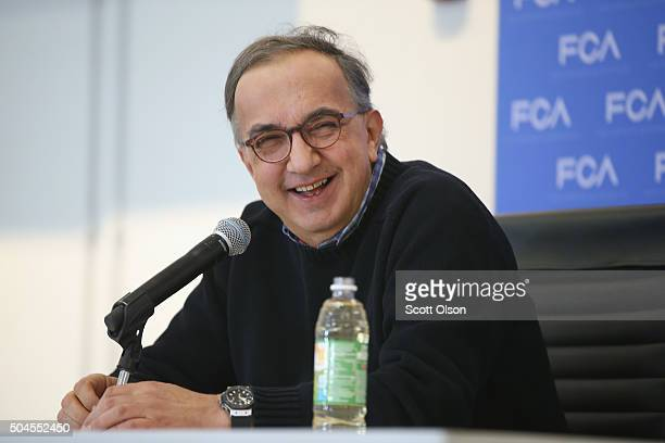 Fiat Chrysler CEO Sergio Marchionne speaks to the press at the North American International Auto Show on January 11 2016 in Detroit Michigan The show...