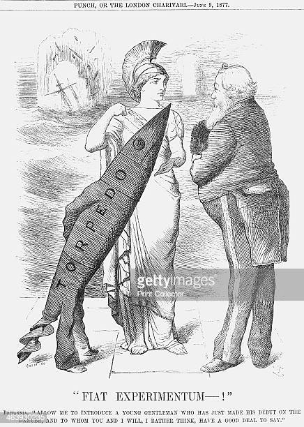 Fiat Experimentum 1877 Britannia shows off a new weapon to the Lord of the Admiralty This cartoon relates to the reported battle at the end of May...
