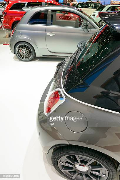 Fiat stand with various Fiat cars in in different colors