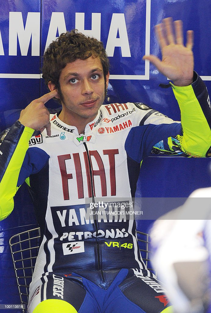 Fiat Yamaha team's rider Italian Valentino Rossi gestures in the pits after his free practice session at Le Mans' circuit on May 21, 2010 two days ahead of the MotoGP French Grand Prix.