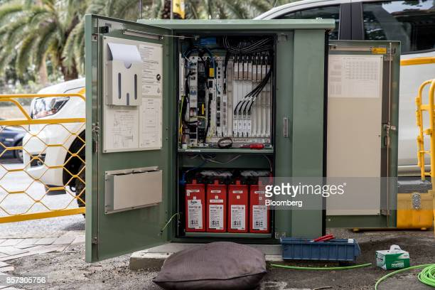 A fiber distribution cabinet stands during the installation of NBN Co's fibertothebuilding connections in Sydney Australia on Tuesday Oct 3 2017 NBN...