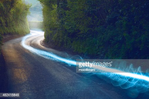 Fiber optic cable running above ground in the British Countryside : Stock-Foto