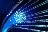 Fiber optics with streams of binary data