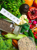 Fiber rich food, fruits and vegetables, seeds, beans and green sprouts, healthy food concept