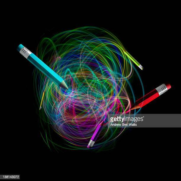 Fibre optic pencils draw light trails onto black
