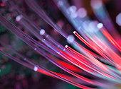 Fibre optics used to send data darting past computer circuit board