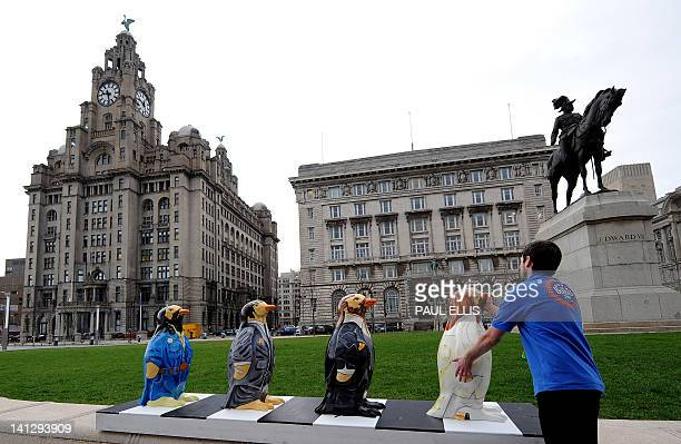 Fibreglass penguin charicatures of the Beatles in their famous Abbey Road crosswalk pose stand on the pier head in Liverpool northwest England on...