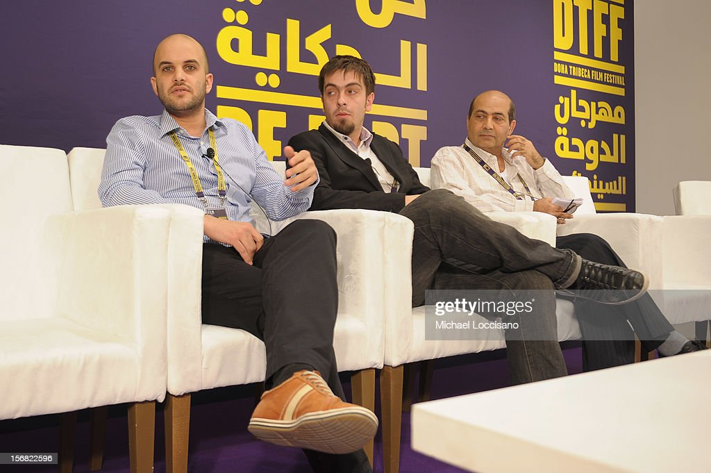"""Fidaï"" Director Damien Ounouri (L) and executive producer Alexandre Singer attends the Arab Feature Film Press Conference at the Al Mirqab Hotel during the 2012 Doha Tribeca Film Festival on November 22, 2012 in Doha, Qatar."