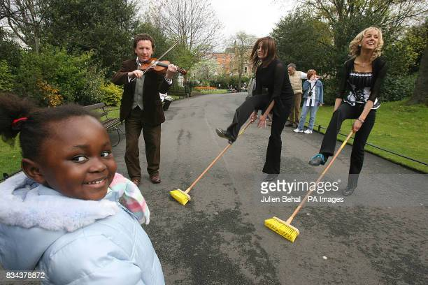 Fiddle player Frankie Gavin and Brush dancers Aisline Cunningham and Edwina Guckian are watched by Khanyisile as they launch the World Fleadh the...