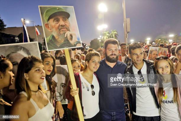 Fidel Antonio Castro Smirnoff grandson of late Cuban Revolution leader Fidel Castro at the Revolution square poses for pictures with Cuban youth...