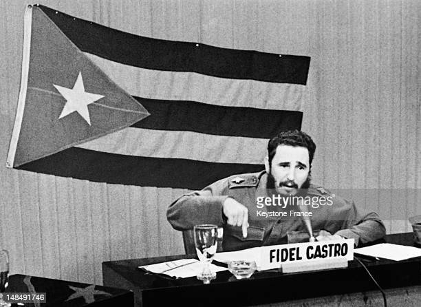 Fidel Castro announces general mobilization after the announcement of Cuba blockade by US President John F Kennedy in Havana on October 29 1962