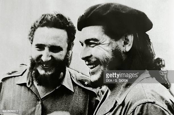 Fidel Castro Cuban politician and revolutionary left and Ernesto Rafael Guevara de la Serna known as Che Guevara Argentine revolutionary photograph