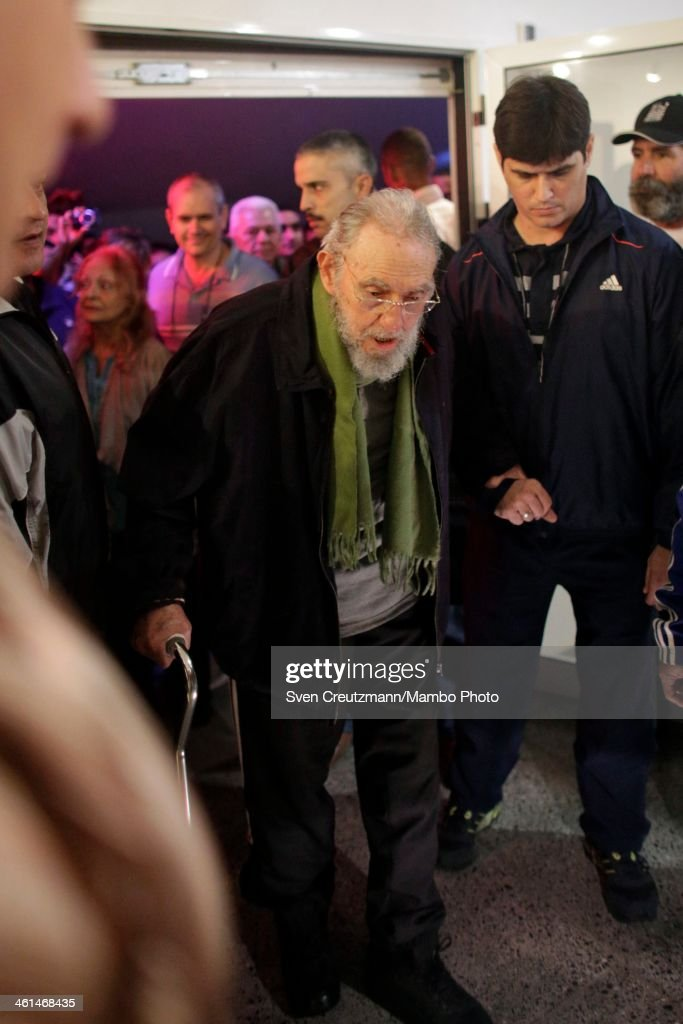 <a gi-track='captionPersonalityLinkClicked' href=/galleries/search?phrase=Fidel+Castro&family=editorial&specificpeople=67210 ng-click='$event.stopPropagation()'>Fidel Castro</a>, Cuba's former President and revolutionary leader, makes a rare public appearance to attend the inauguration of an art gallery on January 8, 2014 in Havana, Cuba. Castro, who ceded power to his brother Raul Castro in 2008 after falling ill in 2006, has last been seen in public in February 2013 at a National Assembly meeting. The gallery Castro visited is run by Cuban artist Alexis Leyva, aka Kcho.