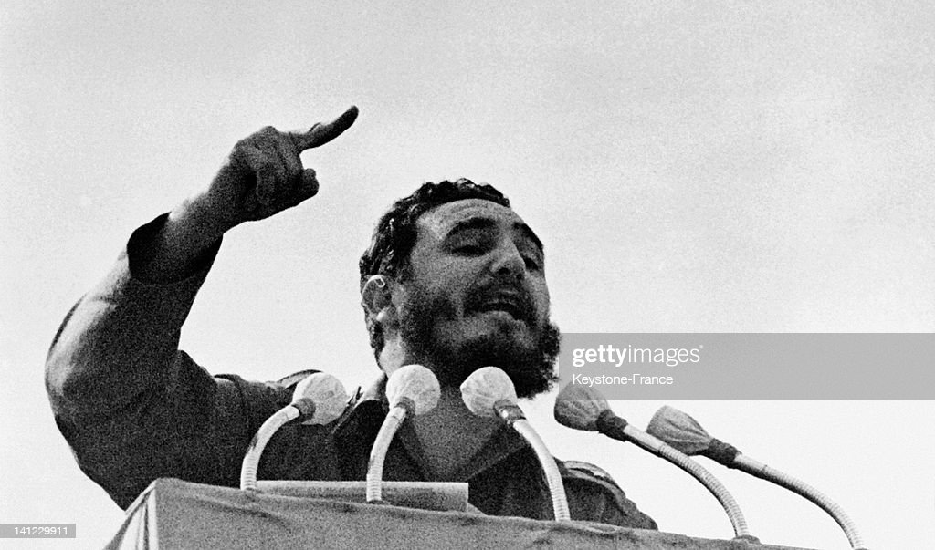 Fidel Castro during his speech for the 4th Anniversary of Revolution on January 07, 1963 in Havana,Cuba.