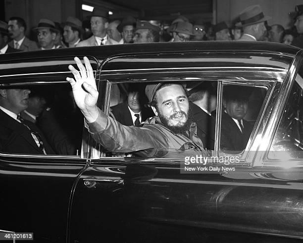 Fidel Castro visits New York Fidel Castro outside Statler Hotel