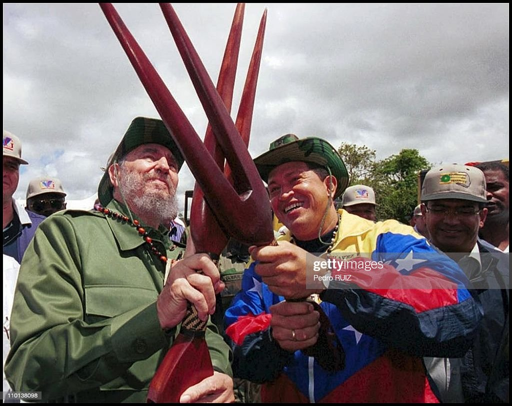 <a gi-track='captionPersonalityLinkClicked' href=/galleries/search?phrase=Fidel+Castro&family=editorial&specificpeople=67210 ng-click='$event.stopPropagation()'>Fidel Castro</a> visits Venezuela on his 75th birthday - To celebrate his 75th birthday on August 13th, <a gi-track='captionPersonalityLinkClicked' href=/galleries/search?phrase=Fidel+Castro&family=editorial&specificpeople=67210 ng-click='$event.stopPropagation()'>Fidel Castro</a> was invited by President Hugo Chavez to visit Venezuela in Caracas, Venezuela in August, 2001.
