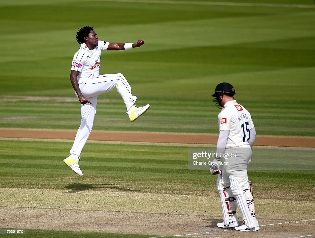 <a gi-track='captionPersonalityLinkClicked' href=/galleries/search?phrase=Fidel+Edwards&family=editorial&specificpeople=217762 ng-click='$event.stopPropagation()'>Fidel Edwards</a> of Hampshire celebrates after taking the wicket of Matthew Machan of Sussex during day two of the LV County Championship match between Sussex and Hampshire at The BrightonandHoveJobs.com County Ground, on June 08, 2015 in Hove, England.
