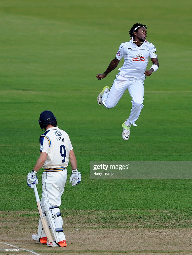 Fidel Edwards of Hampshire celebrates the wicket of Alex Less of Yorkshire during the LV County Championship match between Hampshire and Yorkshire at...