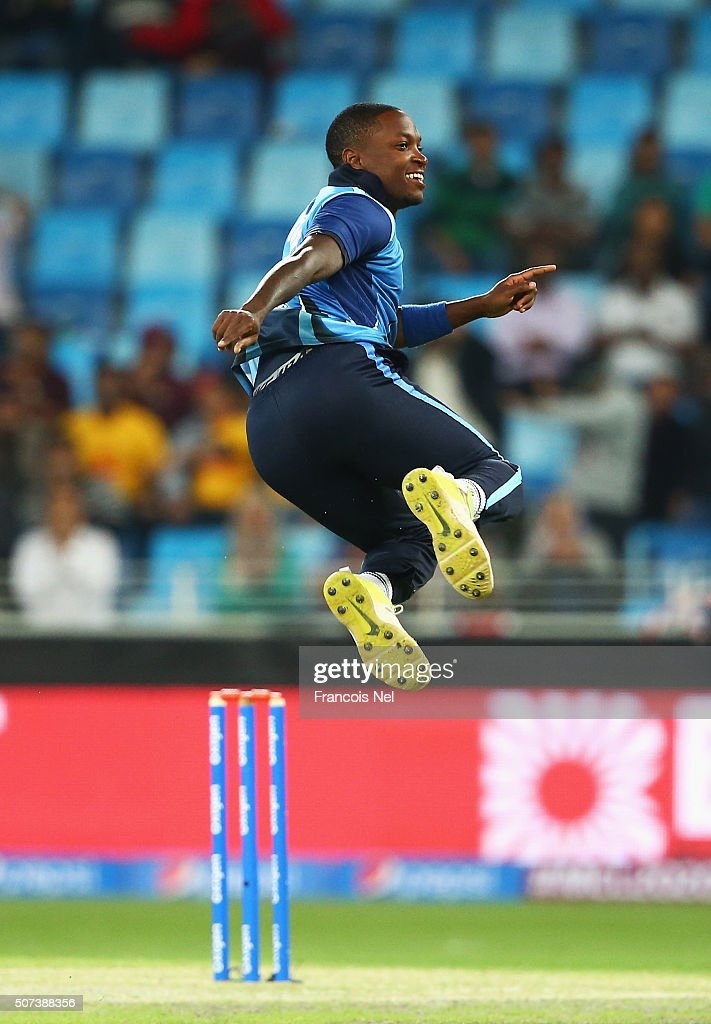 <a gi-track='captionPersonalityLinkClicked' href=/galleries/search?phrase=Fidel+Edwards&family=editorial&specificpeople=217762 ng-click='$event.stopPropagation()'>Fidel Edwards</a> of Leo Lions celebrates taking the wicket of Rory Kleinveldt of Capricorn Commanders during the Oxigen Masters Champions League 2016 match between Capricorn Commanders and Leo Lions at Dubai International Cricket Stadium on January 29, 2016 in Dubai, United Arab Emirates.